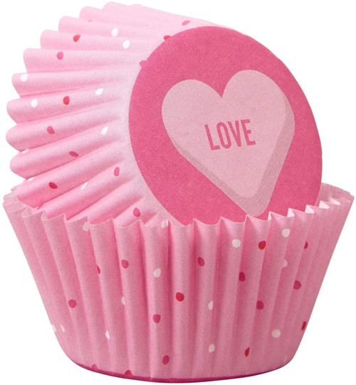 Wilton Scattered Pink Heart Valentines Day 100 ct Mini Baking Cups Cupcake Liners