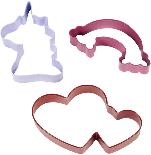 Wilton Magical Unicorn Rainbow Heart Cookie Cutters Colorful Metal 3 Pc Set