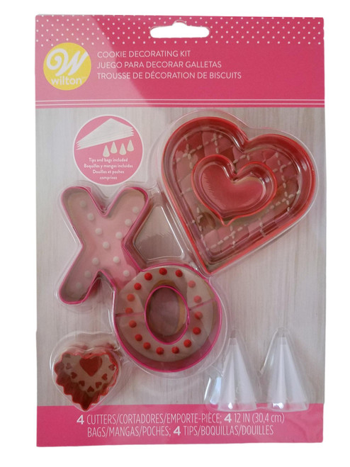 Cookie Cutter 12 pc Decorating Kit with Bags and Tips Wilton Valentine's Day