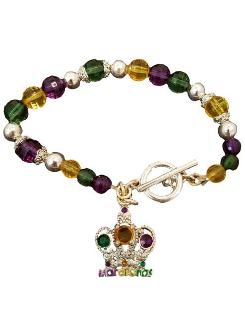 Mardi Gras Crown Charm Bracelet