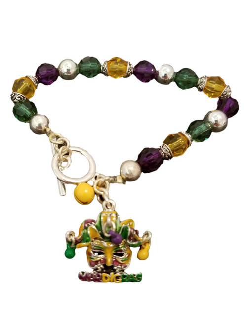 Mardi Gras Mask Jester Bell Charm Bracelet