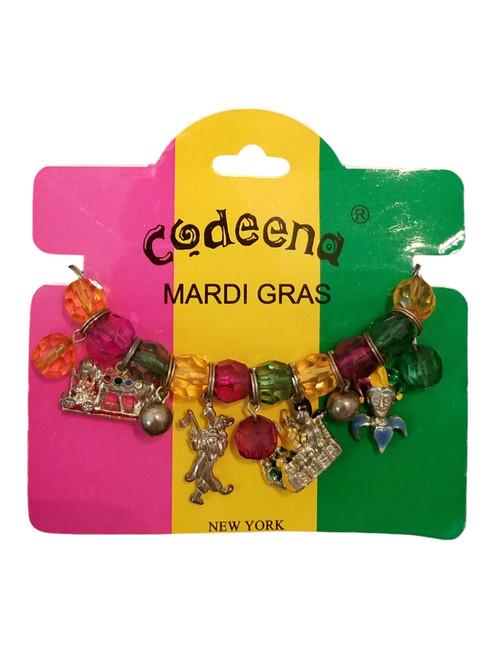 Mardi Gras 19 Charms Stretch Bracelet Jester, float, Marcher, Mask and More