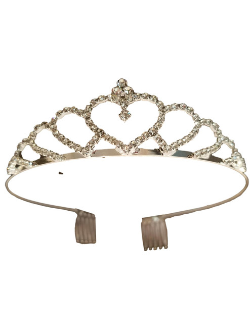 Small Heart Crystal Silver plate Pageant Tiara