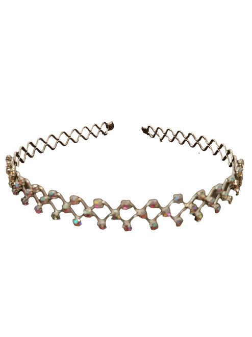 Iridescent Crystal Silver plate Headband