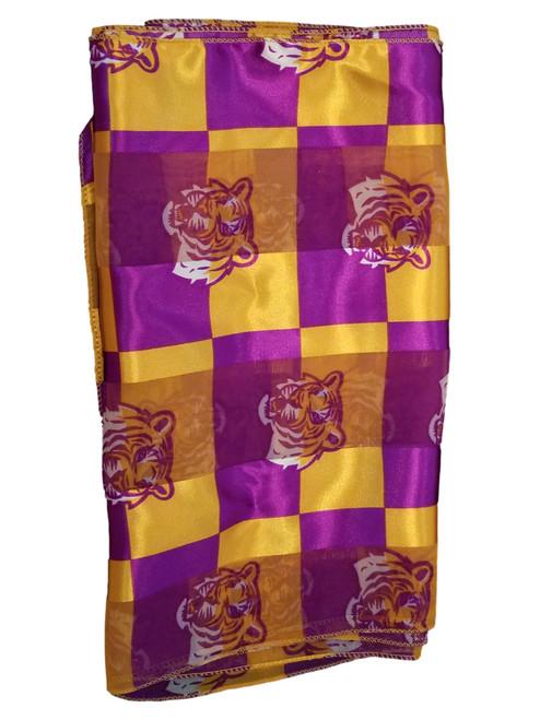 LSU Poly Scarf Purple Gold Sheer Tiger Print