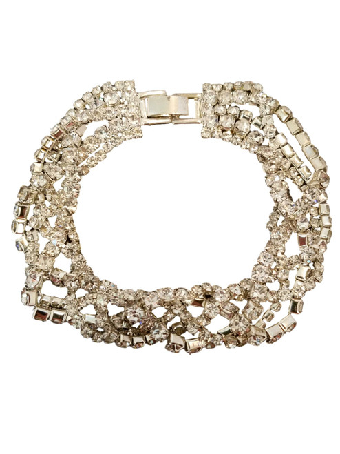 5 Strand Row Crystal Silver Tennis Bracelet