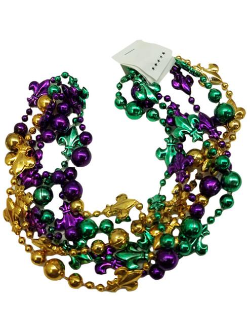 Fleur De Lis Purple Green Gold Mardi Gras Beads 12 Necklaces Party Favors