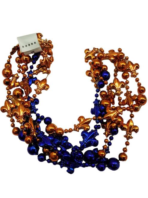 Fleur De Lis Orange Blue Mardi Gras Beads 12 Necklaces Party Favors