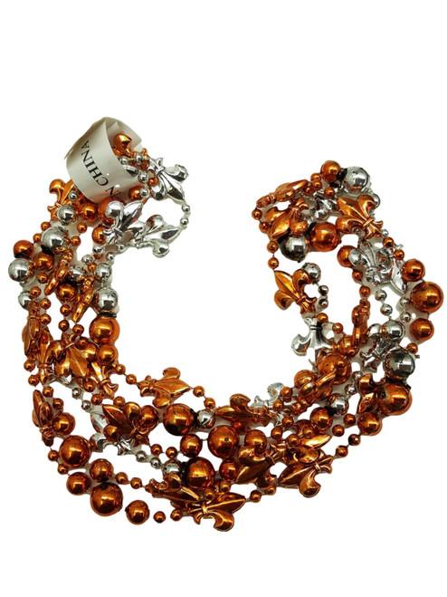 Fleur De Lis Orange Silver Mardi Gras Beads 12 Necklaces Party Favors