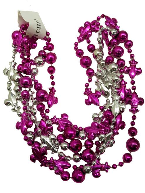 Fleur De Lis Pink Silver Mardi Gras Beads 12 Necklaces Party Favors