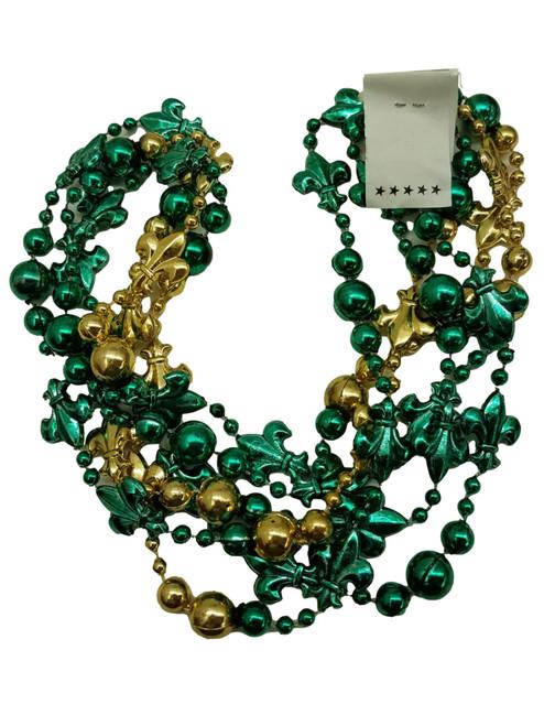 Fleur De Lis Green Gold Mardi Gras Beads 12 Necklaces Party Favors