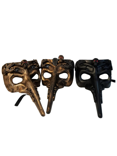 3 Skull Red Eyes Long Nose Masquerade Mardi Gras Men's Masks