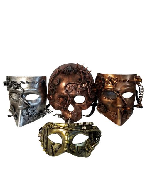 4 Steampunk Masquerade Mardi Gras Men's Masks Bauta Skull