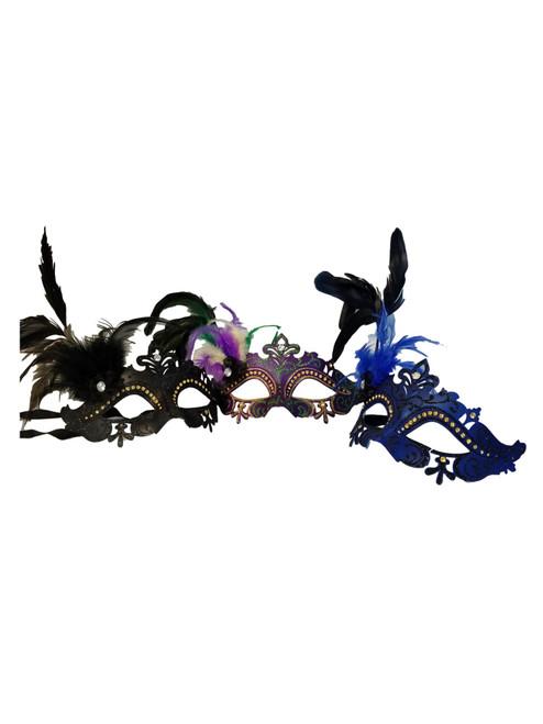 3 Princess Feather Mask Value Package Masquerade Mardi Gras Masks