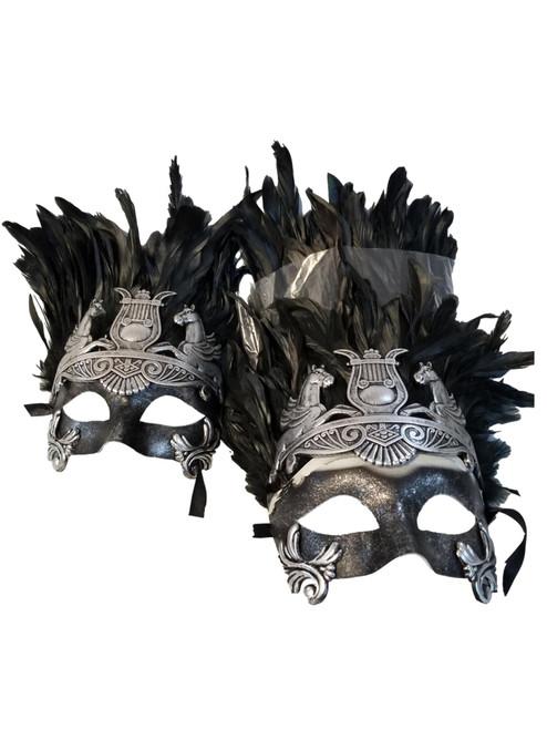 3 Men Silver Greek Roman Warrior Knight Masquerade Ball Feather Mask Set
