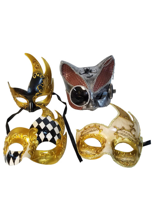 4 Value Package Masquerade Mardi Gras Mask Set Cat Steampunk Flame
