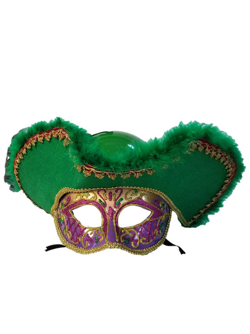 Purple Green Gold Pirate Captain Mask Halloween Mardi Gras