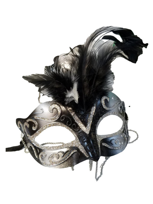 Black Silver with Chains Venetian Masquerade Mask Feathers Small