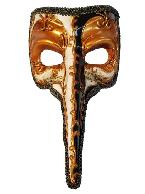 Gold Black White Long Nose Bird Mardi Gras Masquerade Venetian Zanni Mask