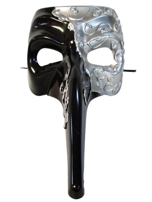 Silver Black Long Nose Bird Mardi Gras Masquerade Venetian Zanni Mask