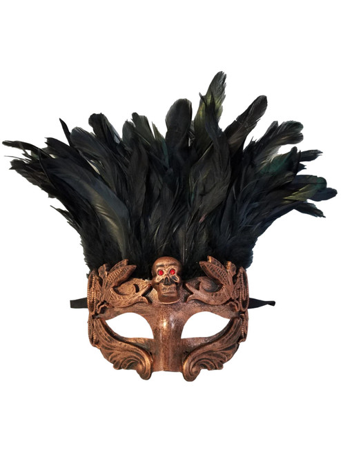 Copper Skull Red Eyes Feather Masquerade Mardi Gras Men's Mask