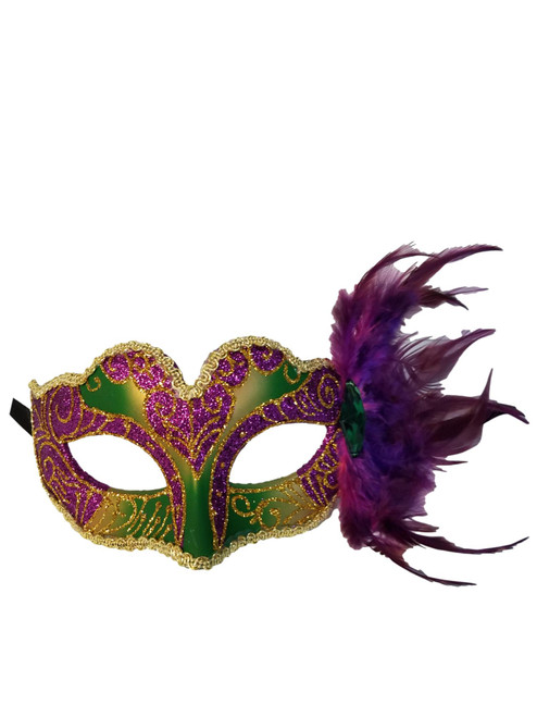 Purple Green Gold Child Small Teen Adult Venetian Feather MasK