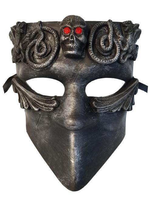 Red Eyes Skull Bauta Masquerade Mask Men Brushed Silver