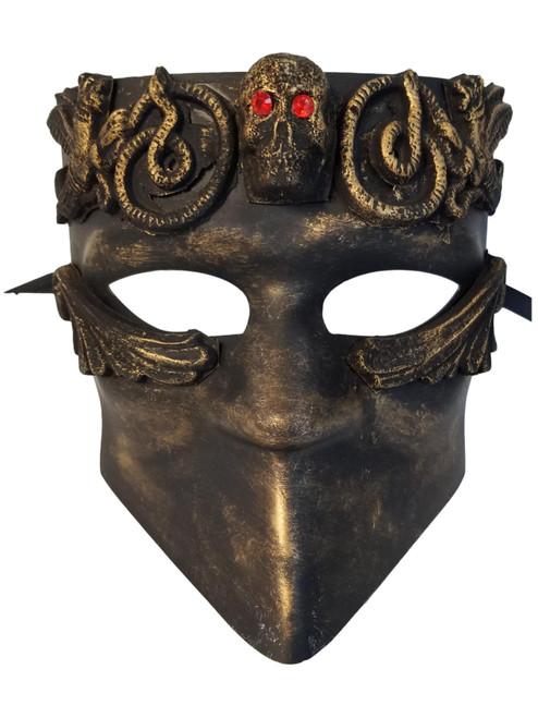 Red Eyes Skull Bauta Masquerade Mask Men Brushed Gold