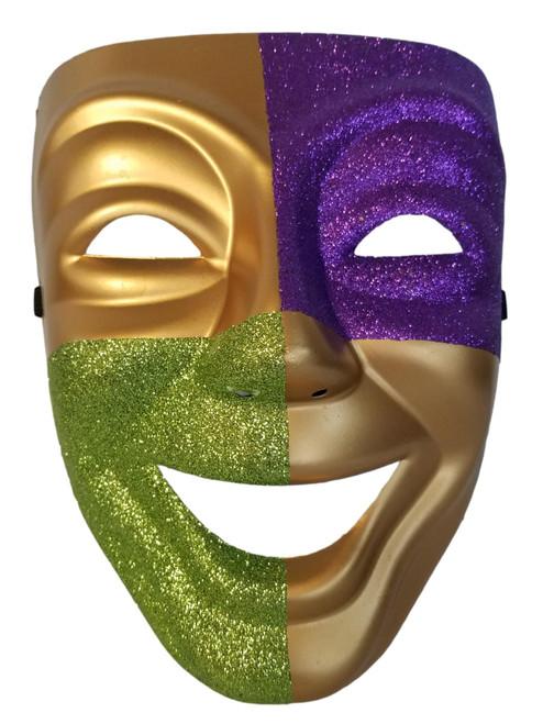 Purple Green Gold Full Face Mardi Gras Masquerade Costume Mask