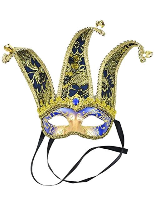 Navy Blue Gold Jester Mardi Gras Masquerade Mask Bendable