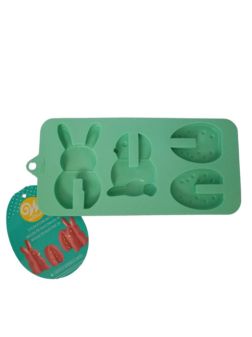 Easter 3D Silicone Green Mold Wilton 4 Cavities Bunny Egg Chick