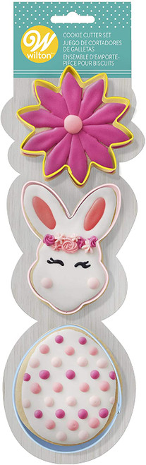 Wilton Easter Flower Bunny Egg Metal Cookie Cutter Set 3 pc