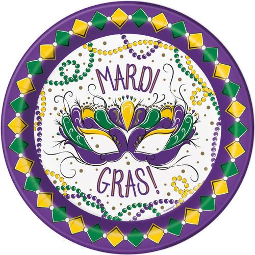 "Jazzy Mardi Gras 9"" Lunch Dinner Plates 8 ct"