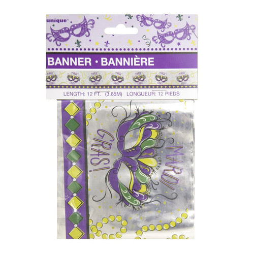 Jazzy Mardi Gras Party Foil Banner 12 ft