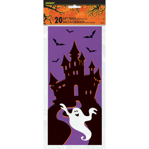 Haunted House Halloween 20 ct Cello Treat Bags Ties Bat Ghost