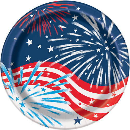 "Fireworks July 4th 8 Ct 9"" Lunch Plates Memorial Veterans Day"