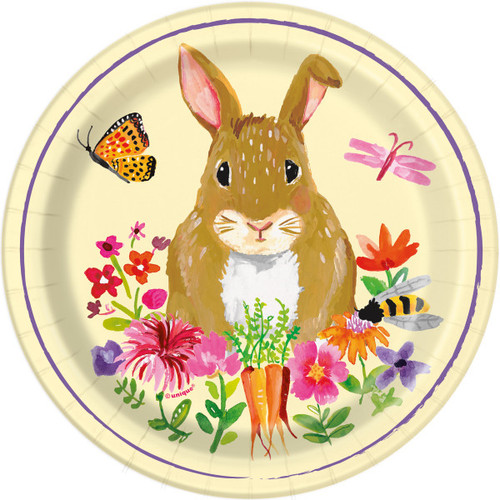 """Floral Happy Easter Bunny 8 Ct Cake Dessert 7"""" Plates Butterfly Flowers"""