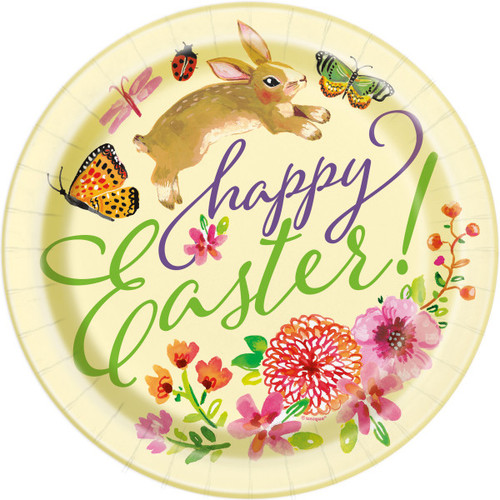 """Floral Happy Easter Bunny 8 Ct 9"""" Luncheon Plates Butterfly Flowers"""