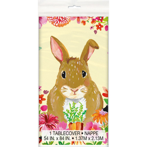 Floral Happy Easter Bunny Plastic Tablecover 54 x 84 Butterfly Flowers