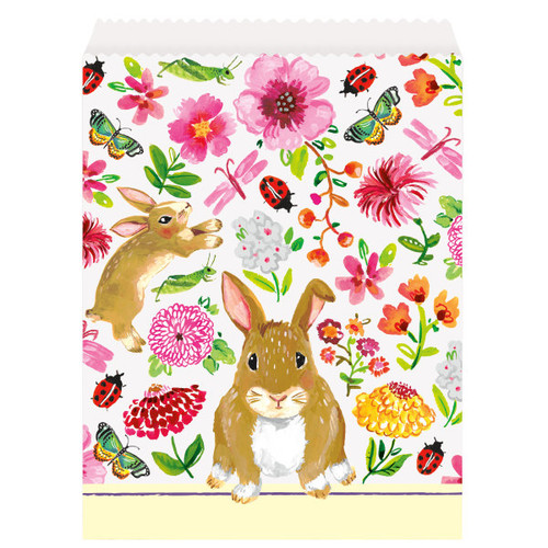 Floral Easter Bunny Paper Treat Goodie Favor Bags 8 Ct Butterfly Flowers