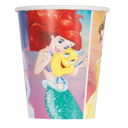 Dream Big Princess 8 Ct 9 oz Paper Hot Cold Cups Ariel Belle Cinderella