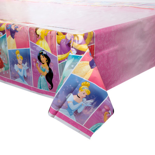 Dream Big Princess Plastic Tablecover 54 x 84 Ariel Belle Cinderella Jasmine