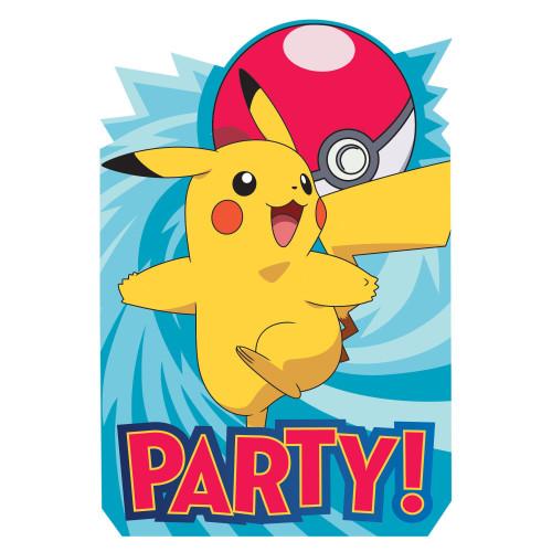 Pokemon Core Pikachu 8 Invitations Seals Envelopes Save Date Stickers