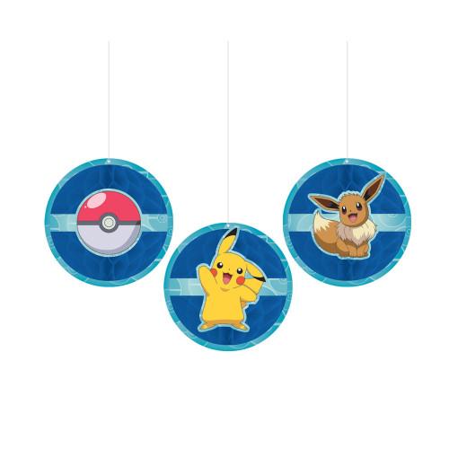 Pokemon Poke Ball Eevee Pikachu Hanging Honeycomb Decor 3 Pc