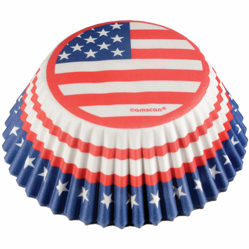 Red White Blue Stars 75 Ct Baking Cups Cupcake Liners