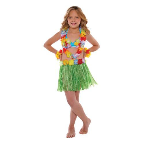 Hawaiian Luau Child's Flower Lei Bra Wristlet and Grass Hula Skirt 5 Pc Set