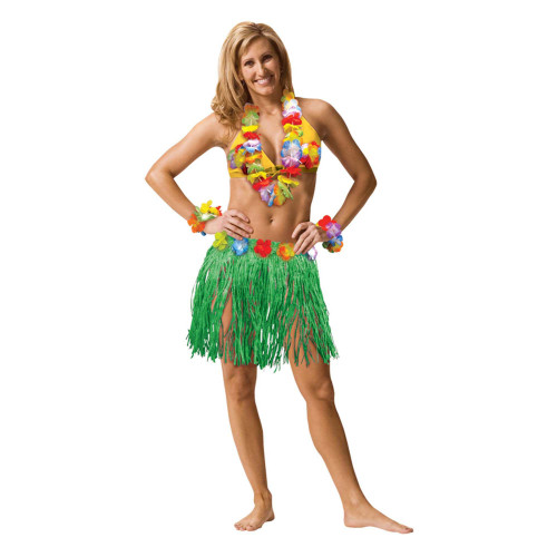 Hawaiian Luau Adult Large Flower Lei Bra Wristlet Grass Hula Skirt 5 Pc Set