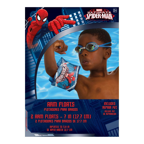 """Spider-man Inflatable 2 Arm Floats 7"""" Plastic w Repair Kit"""