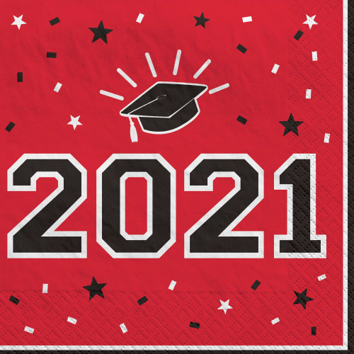 Red Black 40 ct 2021 Luncheon Napkins Value Size School Spirit Graduation