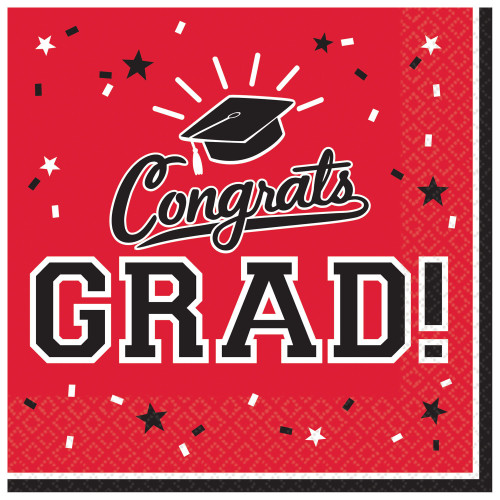 Red Black Congrats Grad 36 ct Beverage Napkins School Spirit Graduation